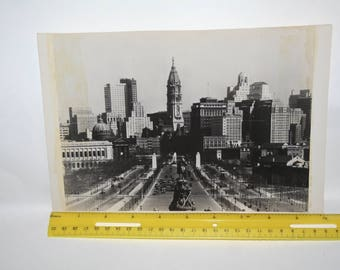 """Vintage 1920s Black White Photograph Measures 6 7/8"""" x 10""""!  Cityscape w/ """"Please Credit  Pan American World Airways Photographic Service!"""""""