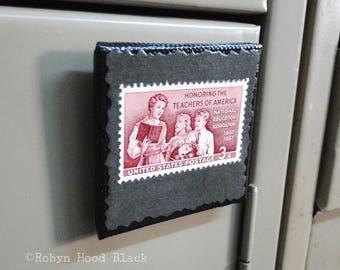 Teacher and Pupils 1950s Vintage Postage Stamp Magnet 2 X 2