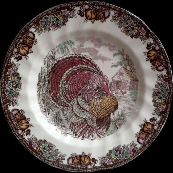 Turkey dinner plate thanksgiving plate housewarming gift newlywed gift wedding gift bridal shower gift johnson brothers autumn monarch plate