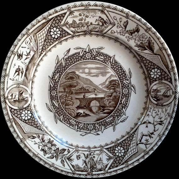 Antique Aesthetic Movement G W TURNER and Sons Phileau Plate, Brown Transferware Plates, 1800's, Tunstall, English Transferware
