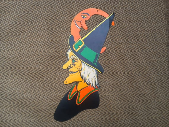 Vintage Halloween X-Large Beistle Witch Cardboard Paper Decoration ~ ON SALE