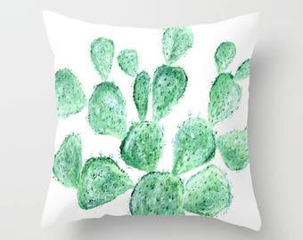 Cactus Throw Pillow Cover, cactus throw pillow, cactus pillow cover, green white pillow, minimal pillow, plant throw pillow, modern pillow