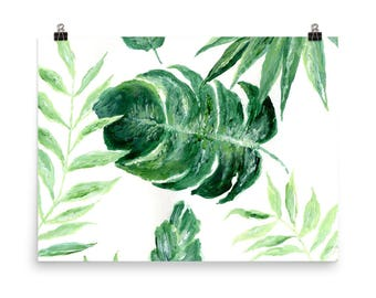Tropical Leaf Print, monstera leaf print, palm leaf print, palm leaf wall art, leaf art print, palm leaf painting, palm leaves art