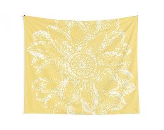 Gray Sunflower Tapestry