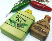 Olive Oil and Vanilla // Waldorf Inspired Wooden Toy for Natural Play Kitchen // Wooden Play Food // Natural Toy Milk