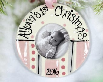 Personalized Baby's First Christmas Ornament Picture Frame in Pink and Gray for Girls