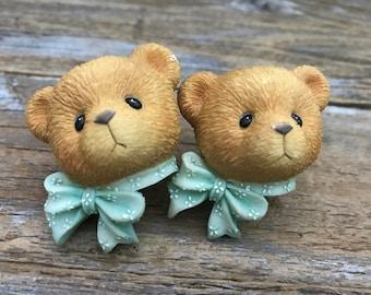2 Vintage Cherished Teddy Bear Knobs Priscilla Hillman Enesco, Child's Baby's Nursery Furniture Pulls