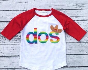 Dos, Fiesta, Party,Sombrero,Two,Second Birthday,Second Fiesta, Gender Neutral,Shirt,Photo Prop,Birthday Shirt