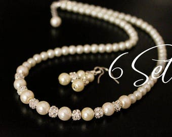 NECKLACE AND EARRINGS Pearl Jewelry Set, Bridesmaids Jewelry 2pcs Set