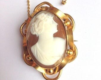 Antique Cameo Brooch Pinchback Pin 1800s Victorian Jewellery Vintage Blush Pink Gold White