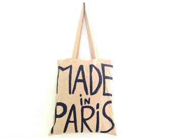 READY to SHIP Made in Paris TOTE Shopper Cotton Eco Unisex Handheld Bag / Eve Damon