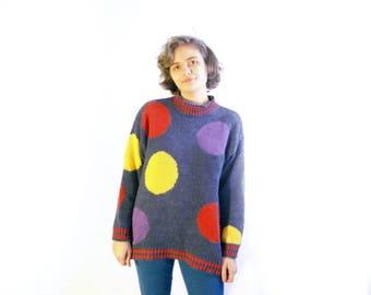 hipster polka dot sweater xl blue groovy hippie vaporwave seapunk clown sweater winter fashion retro vintage 90s grunge 80s