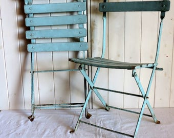 A pair of pale blue wood and metal folding childrens' chairs, vintage french, mid century modern furniture, 1950s outdoor chair