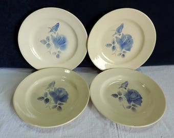 Digoin Sarreguemines set of 4 antique French, side plates. Vintage French faience, blue rose