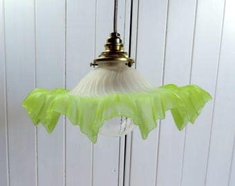 Vintage French, scalloped glass, art glass, handkerchief ceiling or pendant light from the 1930s