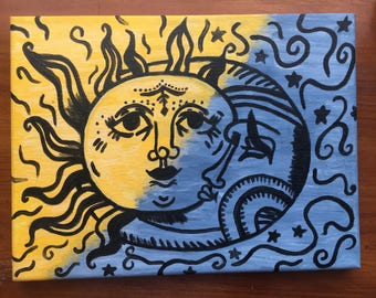 Sun and Moon Painting on Canvas