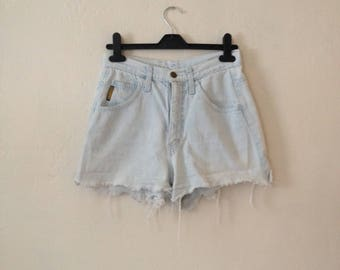 1990's Vintage Armani Jeans Denim Shorts Cut Offs Light Bleached Wash Small Grunge