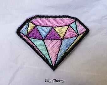 Embroidered patch fusible diamond colors pale pinup rockabilly x 1