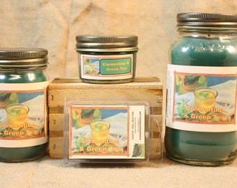 Clementine N Green Tea Scented Candle, Clementine N Green Tea Scented Wax Tarts, 26 oz, 12 oz, 4 oz Jar Candles or 3.5 Clam Shell Wax Melts