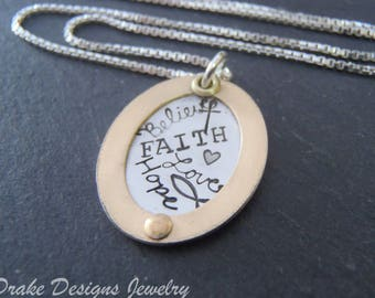 mixed metal cross necklace. christian jewelry. ichthus believe faith hope love word collage