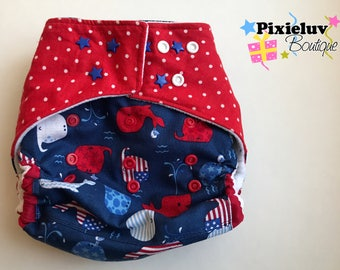 4th of July Whales, Patriotic Red, White and Blue One Size Cloth Diaper, Pocket Diaper (Photoshoot)