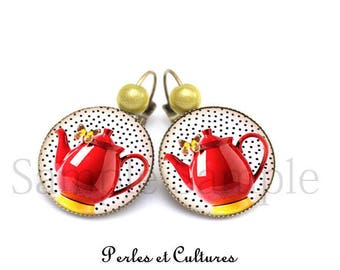Earrings cabochon Tea Timeღ I love tea ღbouilloire red theღ red yellow polka dot vintage ღ