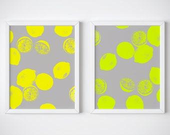 Set of 2 Printable Lemons and Limes Prints. Lemons Print. Lemon Art. Kitchen Art Set. Prints Set. Printable Art Set. Printable Wall Art Set