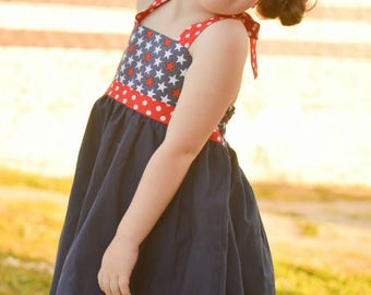Cassidy twirly halter tunic, stars, polka dots, patriotic,  4th of July, tie back, summer dress