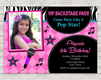 Pop Star Birthday Invitation, Rock Star Party Invite - Printable File or Printed Invitations
