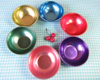 Anodized Aluminum Bowls - Set of 6 - Colorful Metal Cereal Bowls - Rainbow - Jewel Tone - Mid Century - Vintage 1960's