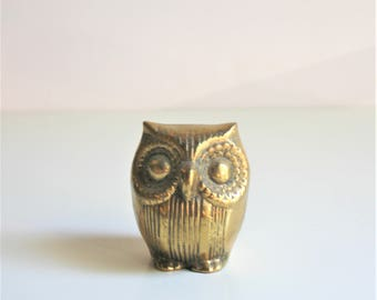 Vintage Brass Small Owl Perched