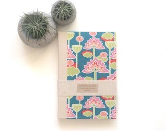 LOTUS- Large UNLINED Journal, Handmade Book, Sketchbook, Notebook, Handmade Gift, Ready to Ship
