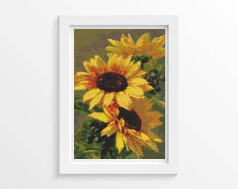 Floral Cross Stitch Chart, Sunflowers Cross Stitch Pattern PDF, Art Cross Stitch, Flowers Cross Stitch, Catherine Klein (KLEIN03)