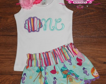 ONE Shell Under the Sea Mermaid Shirt Birthday Outfit Coachella Shorts and Matching Headband