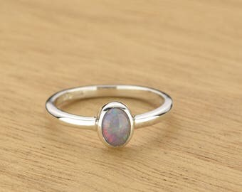 0.26ct Semi-Black Opal Ring in 925 Sterling Silver Size 4.5 SKU: 1979S037
