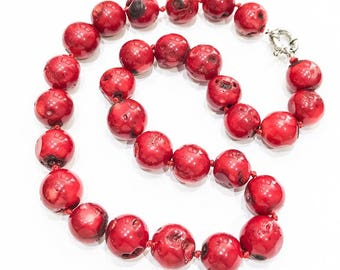 Chunky Red Bamboo Coral Necklace
