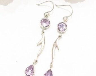 SALE Double Lilac Amethyst 925 Silver Earrings