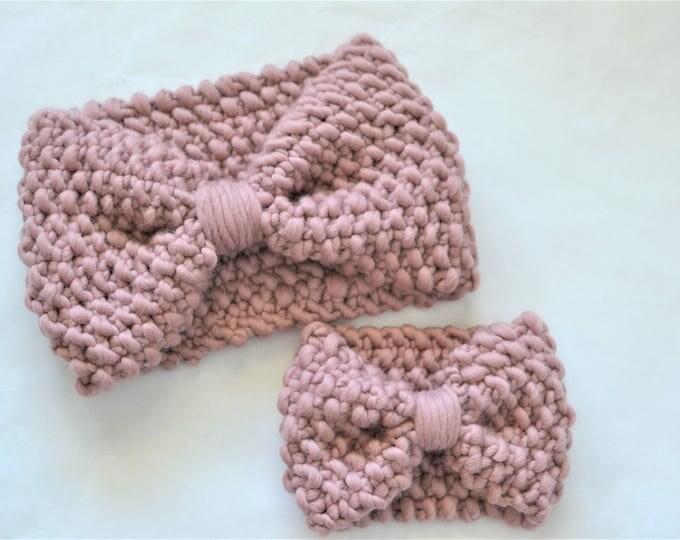 Mauve Headband Bundle | Knit Headbands | Matching Headbands | Chunky Knit Headbands| Wool Knits