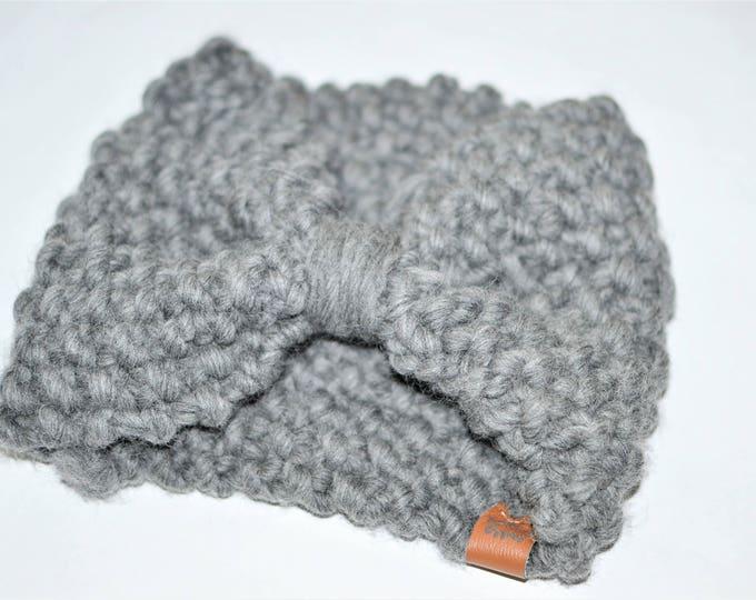 Grey Bow Headband | Knitted Baby Headband | Baby Headband | Bow Headband