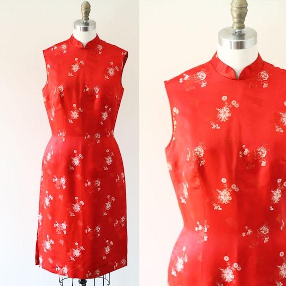 1970s Red Silk Cheongsam Dress // 1970s red dress // vintage dress