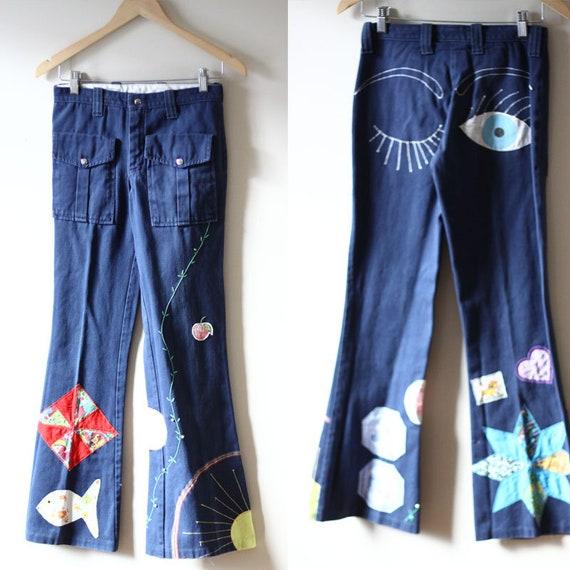 1970s embroidered jeans // vintage patchwork denim // vintage jeans