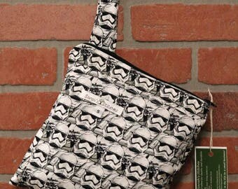 Small Wetbag, Star Wars, HANDLE, Cloth Diaper Wetbag, Cosmetic Bag, Diaper Bag, Holds One Diaper, Size Small with Pocket, S35