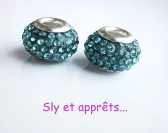 2 metal rhinestone 12mm turquoise beads