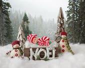 Christmas Newborn Santa Hat knitted Set , Newborn Christmas Set , knitted photo prop