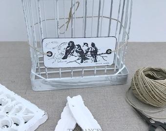 etiquette metal rectangulaire souple 2 trous impression oiseau ancienne écriture 10cm X 4,5 cm