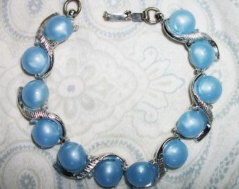 Vintage Silver Tone Blue Lucite Cab Bracelet