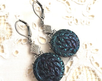 Victorian Antique Button Earrings Teal Blue Luster Glass Dangle Peacock color