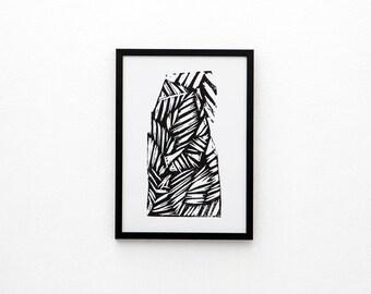 Shaped Screen Print | Screen Printed, Minimalist Screen Print | Wall Decor | Wall Print | Hand Screen Printed