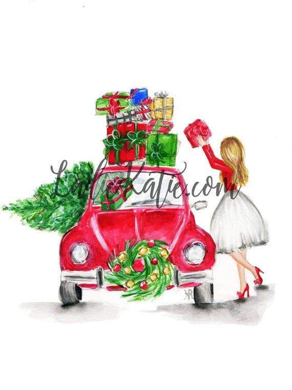Christmas illustration, Christmas art, holiday art, holiday illustration, mother daughter art, mommy and me, gifts for her, custom gift