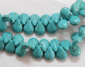 40 beads in turquoise top drilled heart shape